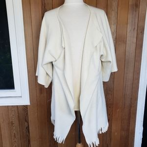 Sweaters - Basic Fleece Off-White Draped Open Cardigan